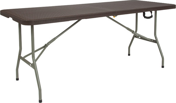 Wholesale 29''W x 71''L Bi-Fold Brown Rattan Plastic Folding Table