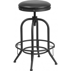 Wholesale 30'' Barstool with Swivel Lift Black Leather Seat