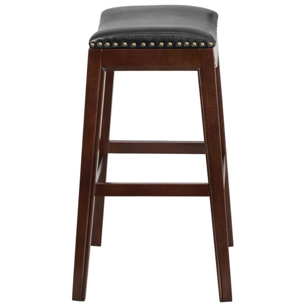 Lowest Price 30'' High Backless Cappuccino Wood Barstool with Black Leather Saddle Seat