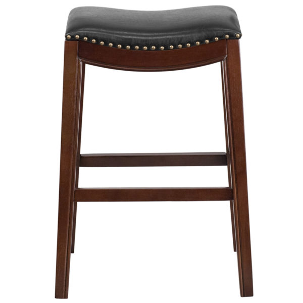 """Transitional Style Stool 30"""" No Back Cappuccino Stool"""