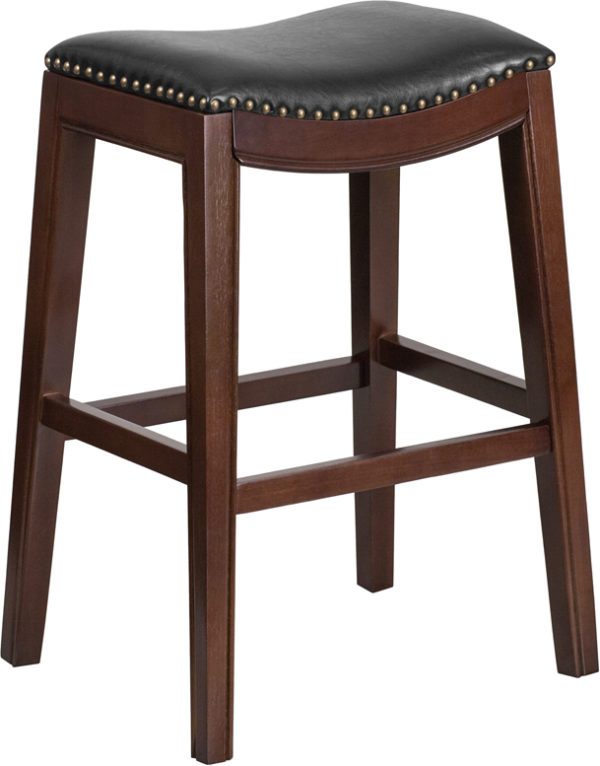 Wholesale 30'' High Backless Cappuccino Wood Barstool with Black Leather Saddle Seat