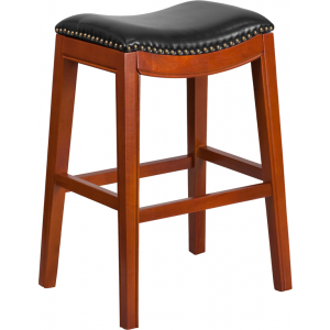 Wholesale 30'' High Backless Light Cherry Wood Barstool with Black Leather Saddle Seat