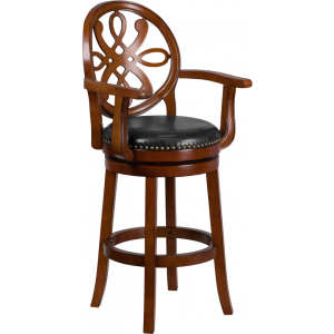 Wholesale 30'' High Brandy Wood Barstool with Arms