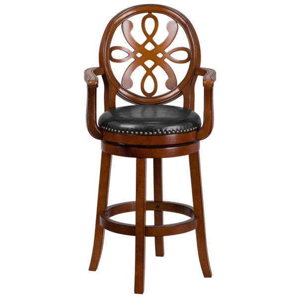 "Transitional Style Stool 30"" Brandy Wood Stool w/ Arms"
