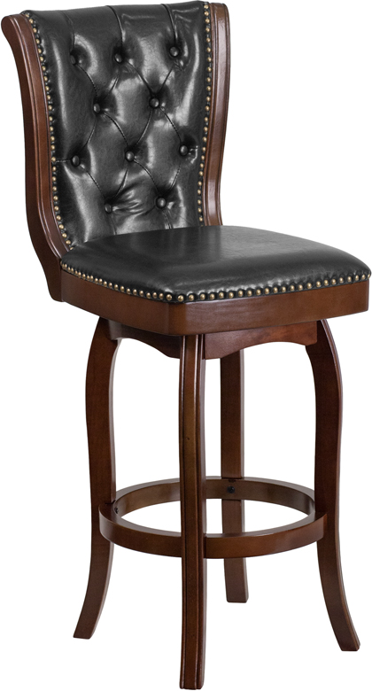 Wholesale 30'' High Cappuccino Wood Barstool with Button Tufted Back and Black Leather Swivel Seat