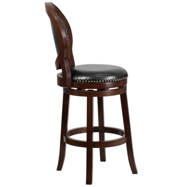 Lowest Price 30'' High Cappuccino Wood Barstool with Oval Back and Black Leather Swivel Seat