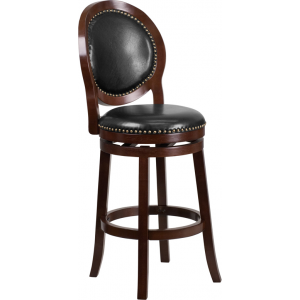 Wholesale 30'' High Cappuccino Wood Barstool with Oval Back and Black Leather Swivel Seat