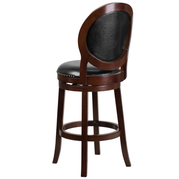 """Transitional Style Stool 30"""" Cappuccino Wood Stool"""