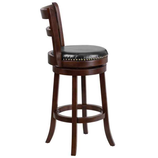 Lowest Price 30'' High Cappuccino Wood Barstool with Single Slat Ladder Back and Black Leather Swivel Seat