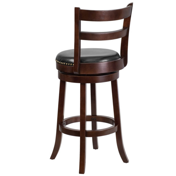 """Transitional Style Stool 30"""" Cappuccino Wood Barstool"""