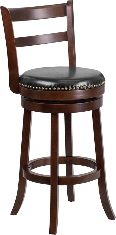 Wholesale 30'' High Cappuccino Wood Barstool with Single Slat Ladder Back and Black Leather Swivel Seat