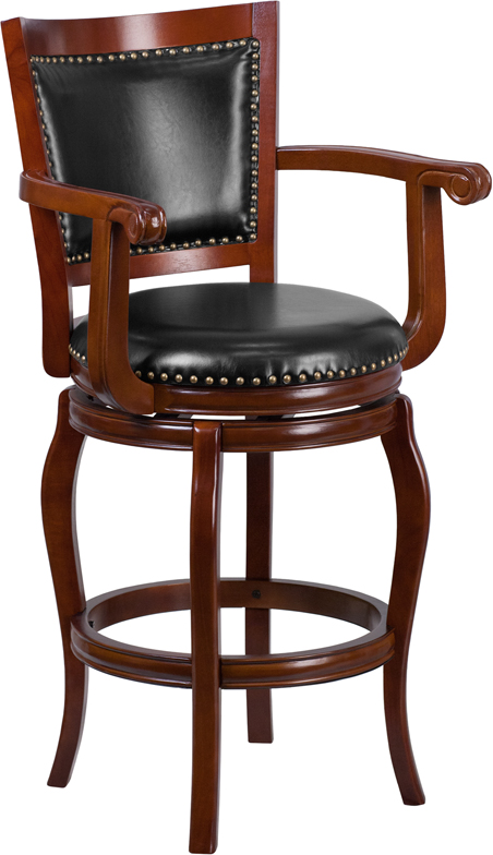 Wholesale 30'' High Cherry Wood Barstool with Arms