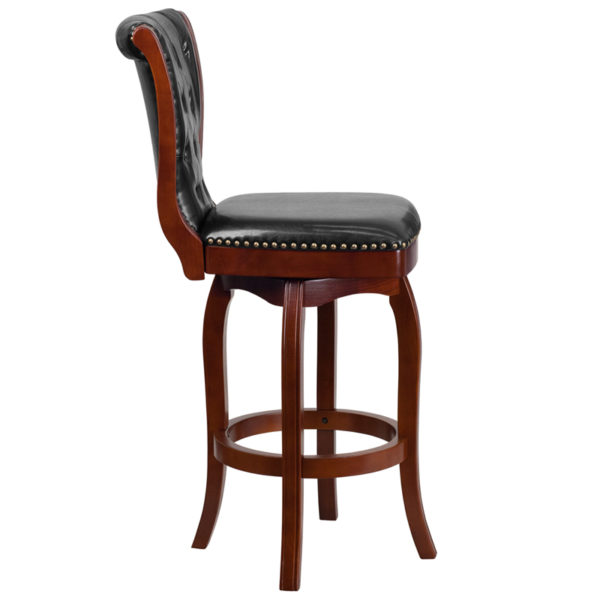 Lowest Price 30'' High Cherry Wood Barstool with Button Tufted Back and Black Leather Swivel Seat
