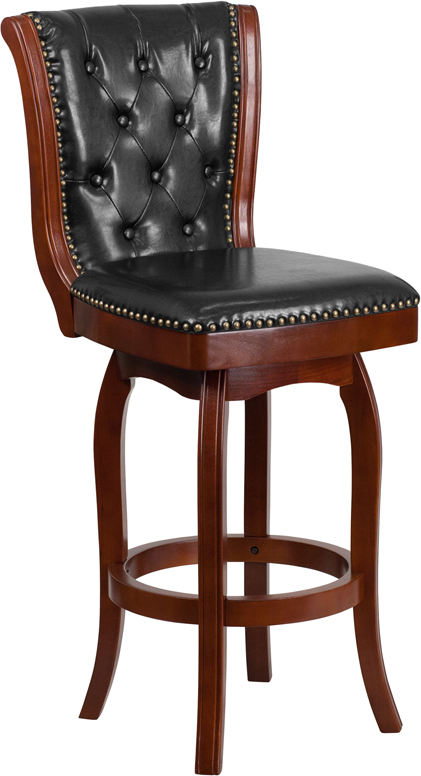 Wholesale 30'' High Cherry Wood Barstool with Button Tufted Back and Black Leather Swivel Seat