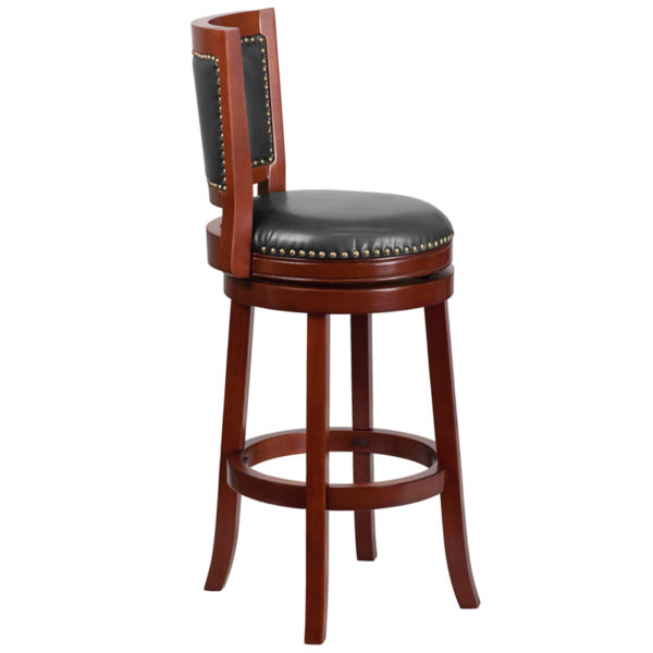 Lowest Price 30'' High Dark Cherry Wood Barstool with Open Panel Back and Walnut Leather Swivel Seat
