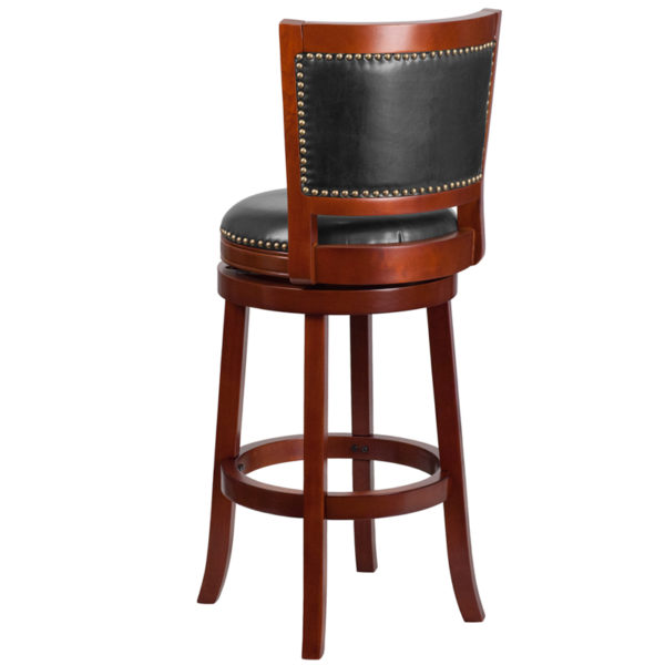 "Transitional Style Stool 30"" Dark Cherry Wood Stool"