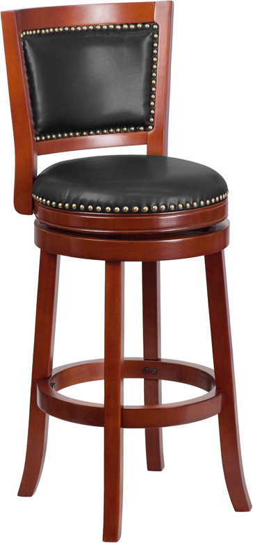 Wholesale 30'' High Dark Cherry Wood Barstool with Open Panel Back and Walnut Leather Swivel Seat