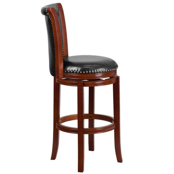 Lowest Price 30'' High Dark Chestnut Wood Barstool with Panel Back and Black Leather Swivel Seat