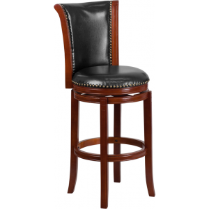 Wholesale 30'' High Dark Chestnut Wood Barstool with Panel Back and Black Leather Swivel Seat