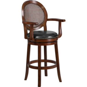 Wholesale 30'' High Expresso Wood Barstool with Arms