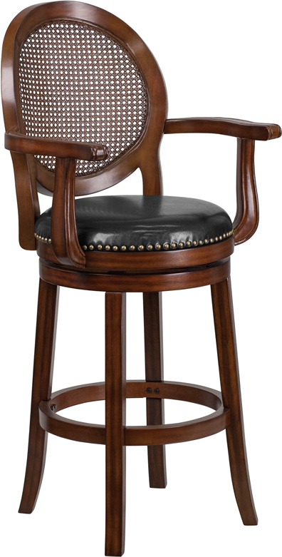 High Expresso Wood Barstool With Arms