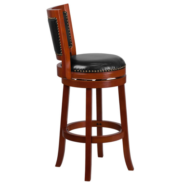 Lowest Price 30'' High Light Cherry Wood Barstool with Open Panel Back and Black Leather Swivel Seat