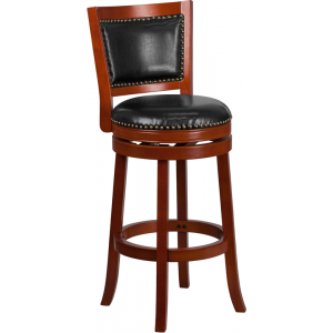 Wholesale 30'' High Light Cherry Wood Barstool with Open Panel Back and Black Leather Swivel Seat