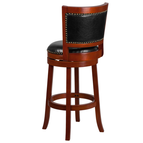 "Transitional Style Stool 30"" Light Cherry Wood Stool"