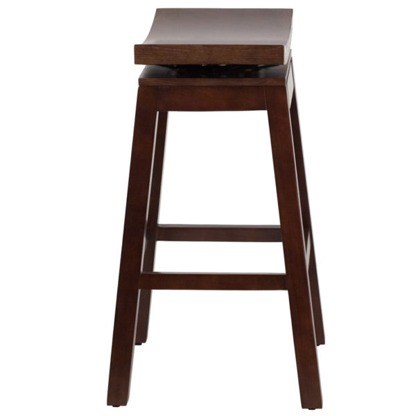 Lowest Price 30'' High Saddle Seat Cappuccino Wood Barstool with Auto Swivel Seat Return