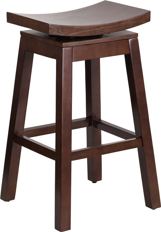 Wholesale 30'' High Saddle Seat Cappuccino Wood Barstool with Auto Swivel Seat Return