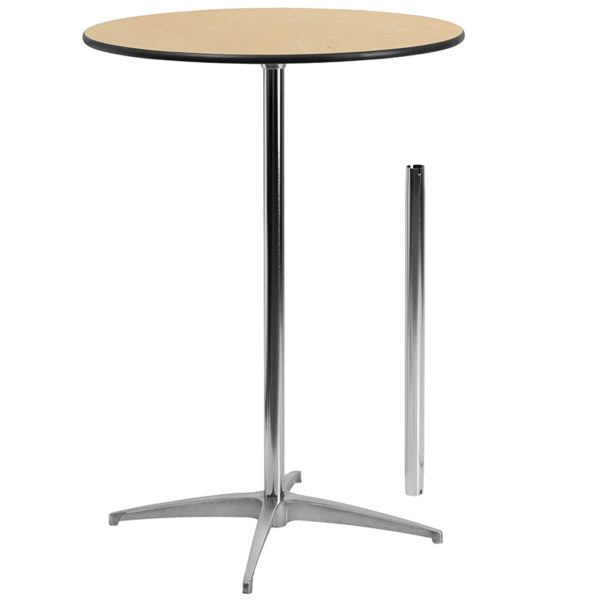 Wholesale 30'' Round Wood Cocktail Table with 30'' and 42'' Columns