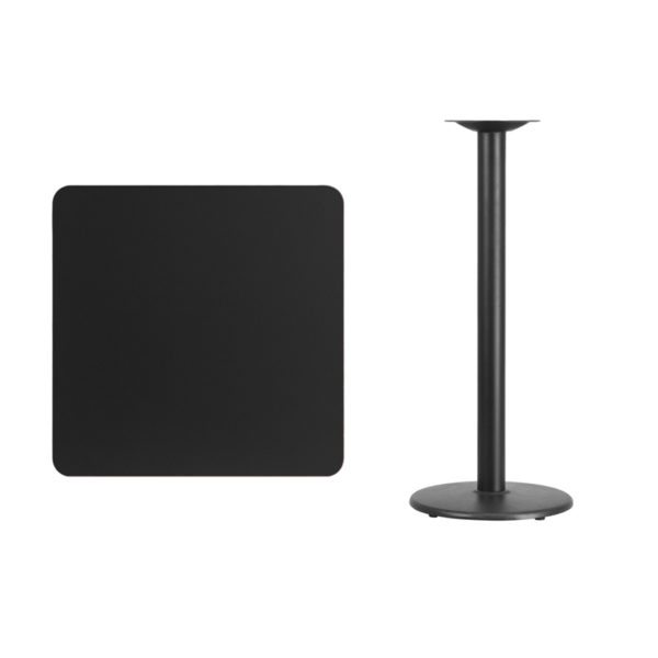Lowest Price 30'' Square Black Laminate Table Top with 18'' Round Bar Height Table Base