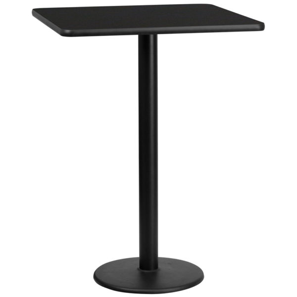 Wholesale 30'' Square Black Laminate Table Top with 18'' Round Bar Height Table Base