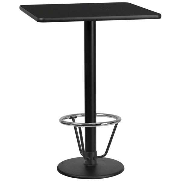 Wholesale 30'' Square Black Laminate Table Top with 18'' Round Bar Height Table Base and Foot Ring