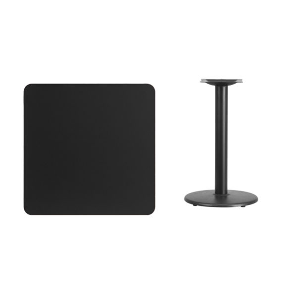 Lowest Price 30'' Square Black Laminate Table Top with 18'' Round Table Height Base