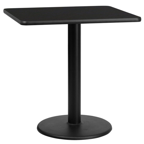 Wholesale 30'' Square Black Laminate Table Top with 18'' Round Table Height Base