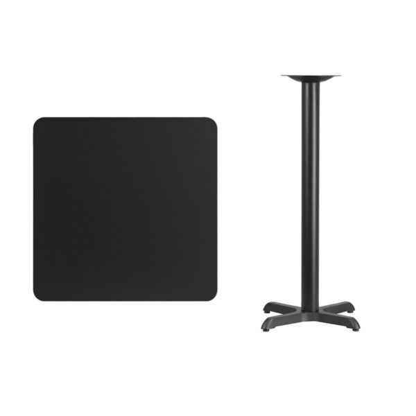 Lowest Price 30'' Square Black Laminate Table Top with 22'' x 22'' Bar Height Table Base