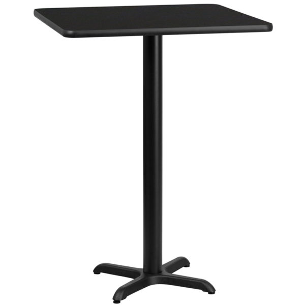 Wholesale 30'' Square Black Laminate Table Top with 22'' x 22'' Bar Height Table Base