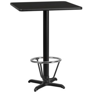 Wholesale 30'' Square Black Laminate Table Top with 22'' x 22'' Bar Height Table Base and Foot Ring