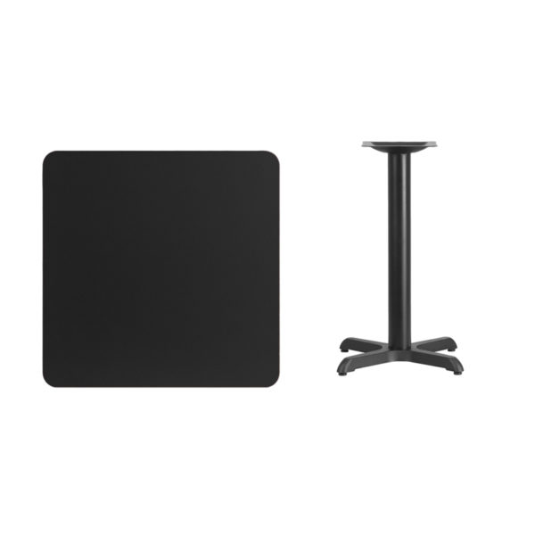 Lowest Price 30'' Square Black Laminate Table Top with 22'' x 22'' Table Height Base