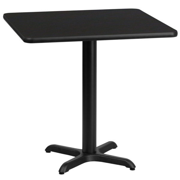 Wholesale 30'' Square Black Laminate Table Top with 22'' x 22'' Table Height Base