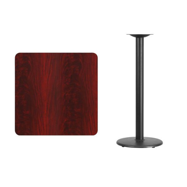 Lowest Price 30'' Square Mahogany Laminate Table Top with 18'' Round Bar Height Table Base