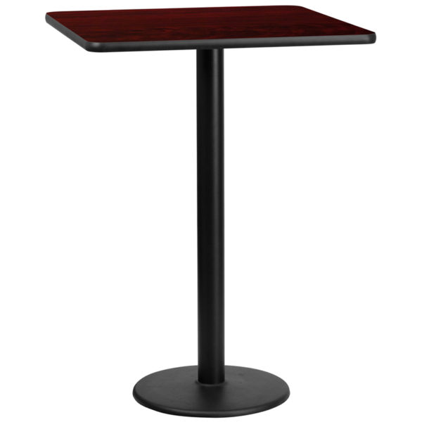 Wholesale 30'' Square Mahogany Laminate Table Top with 18'' Round Bar Height Table Base