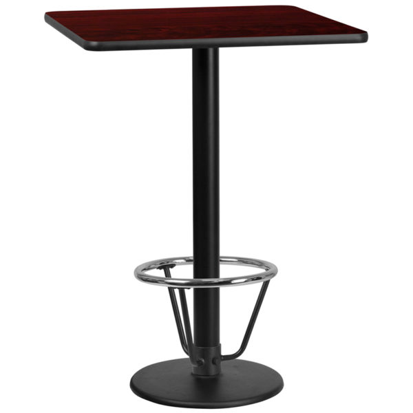 Wholesale 30'' Square Mahogany Laminate Table Top with 18'' Round Bar Height Table Base and Foot Ring