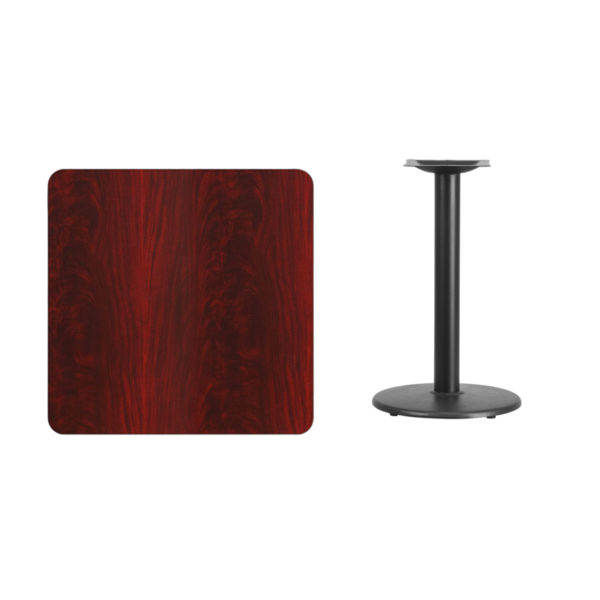 Lowest Price 30'' Square Mahogany Laminate Table Top with 18'' Round Table Height Base