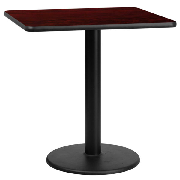 Wholesale 30'' Square Mahogany Laminate Table Top with 18'' Round Table Height Base
