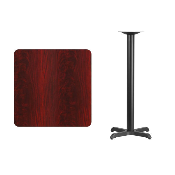 Lowest Price 30'' Square Mahogany Laminate Table Top with 22'' x 22'' Bar Height Table Base