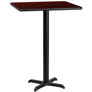 Wholesale 30'' Square Mahogany Laminate Table Top with 22'' x 22'' Bar Height Table Base
