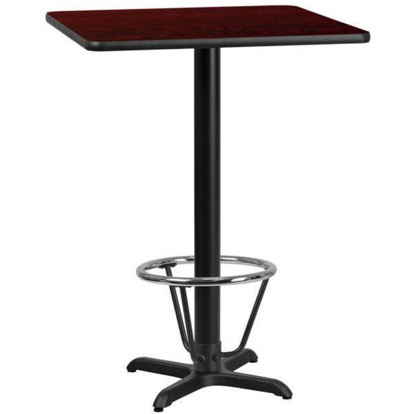 Wholesale 30'' Square Mahogany Laminate Table Top with 22'' x 22'' Bar Height Table Base and Foot Ring