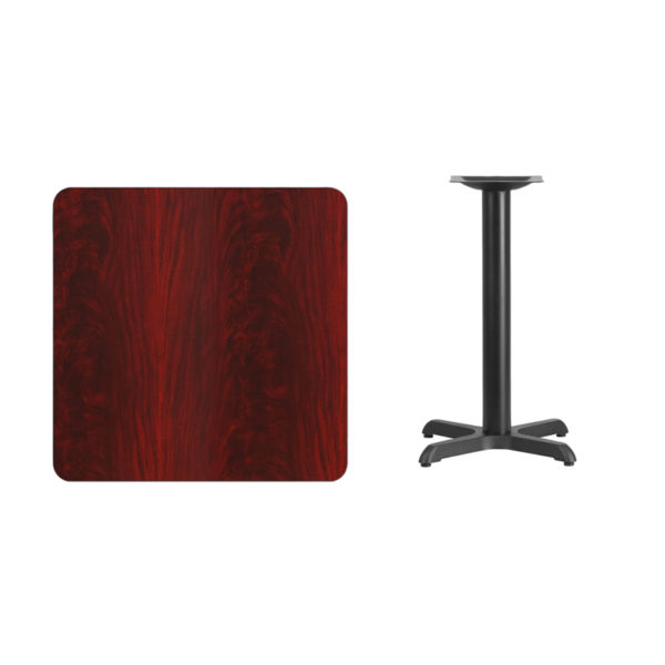 Lowest Price 30'' Square Mahogany Laminate Table Top with 22'' x 22'' Table Height Base